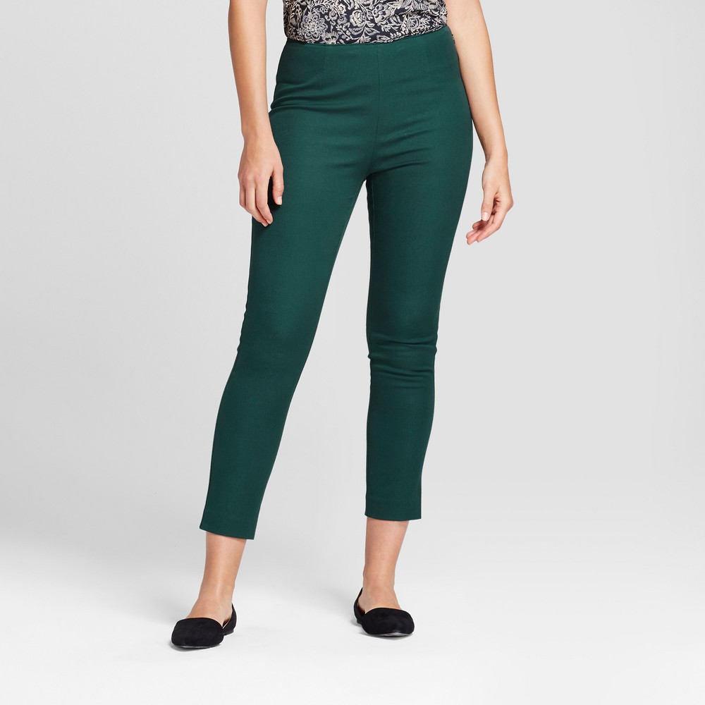Womens Skinny High Rise Ankle Pants - A New Day Dark Green 6