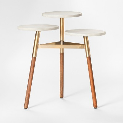 Three Tiered Marble Accent Table   White/Wood ...
