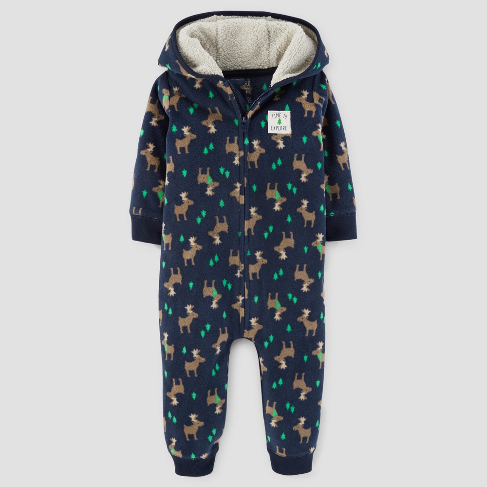 Baby Boys Moose Fleece Hooded Jumpsuit - Just One You Made by Carters Navy 18M, Blue