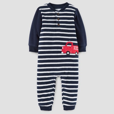 Baby Boys' Firetruck Fleece Hooded Jumpsuit - Just One You™ Made by Carter's® Blue Stripe 12M