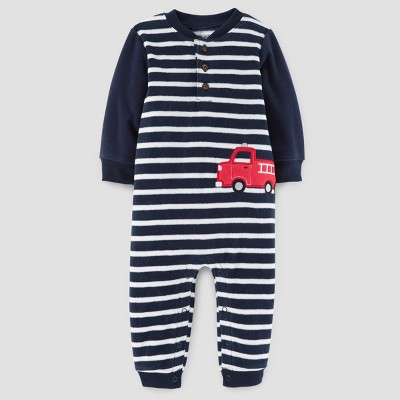 Baby Boys' Firetruck Fleece Hooded Jumpsuit - Just One You™ Made by Carter's® Blue Stripe NB