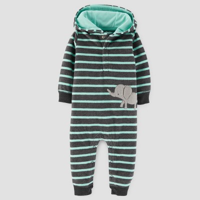 Baby Boys' Elephant Fleece Hooded Jumpsuit - Just One You™ Made by Carter's® Green Stripe NB