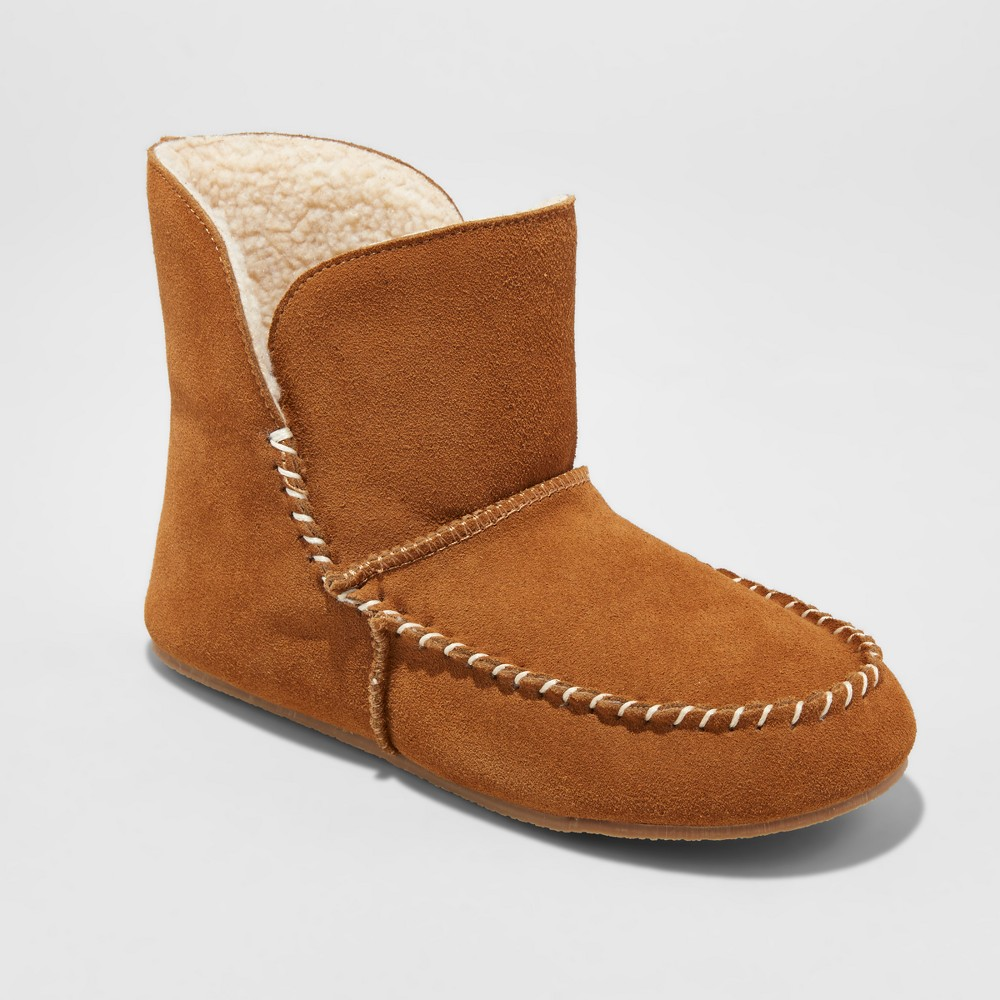 Womens Rhea Suede Moccasin Bootie Slippers - Mossimo Supply Co. Chestnut 10, Brown