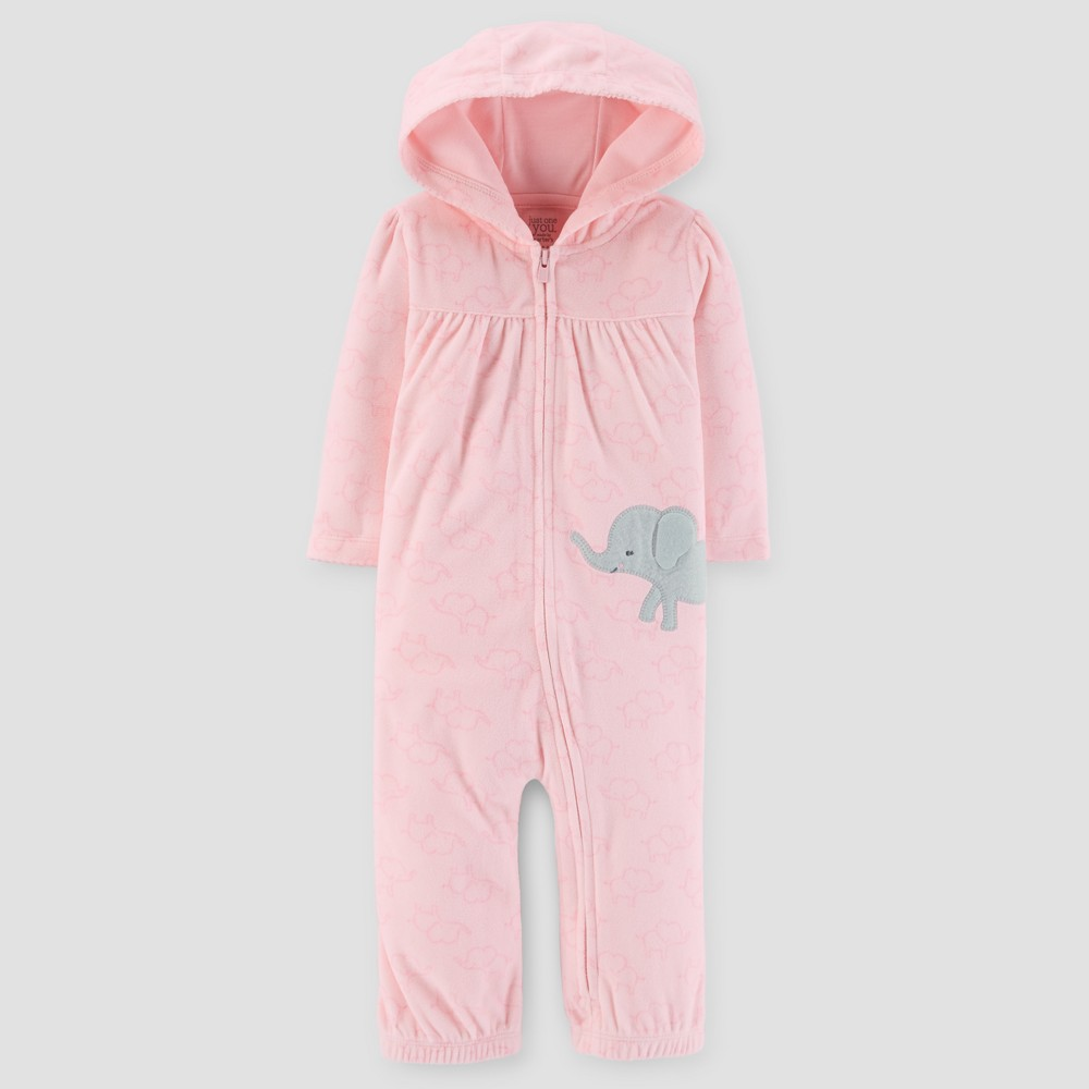 Baby Girls Elephant Fleece Hooded Jumpsuit - Just One You Made by Carters Pink 3M