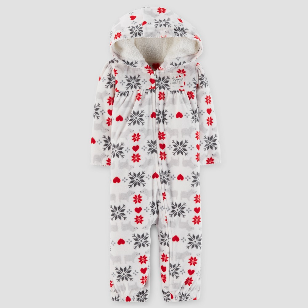 Baby Girls Fair Isle Cotton Hooded Jumpsuit - Just One You Made by Carters Gray 24M