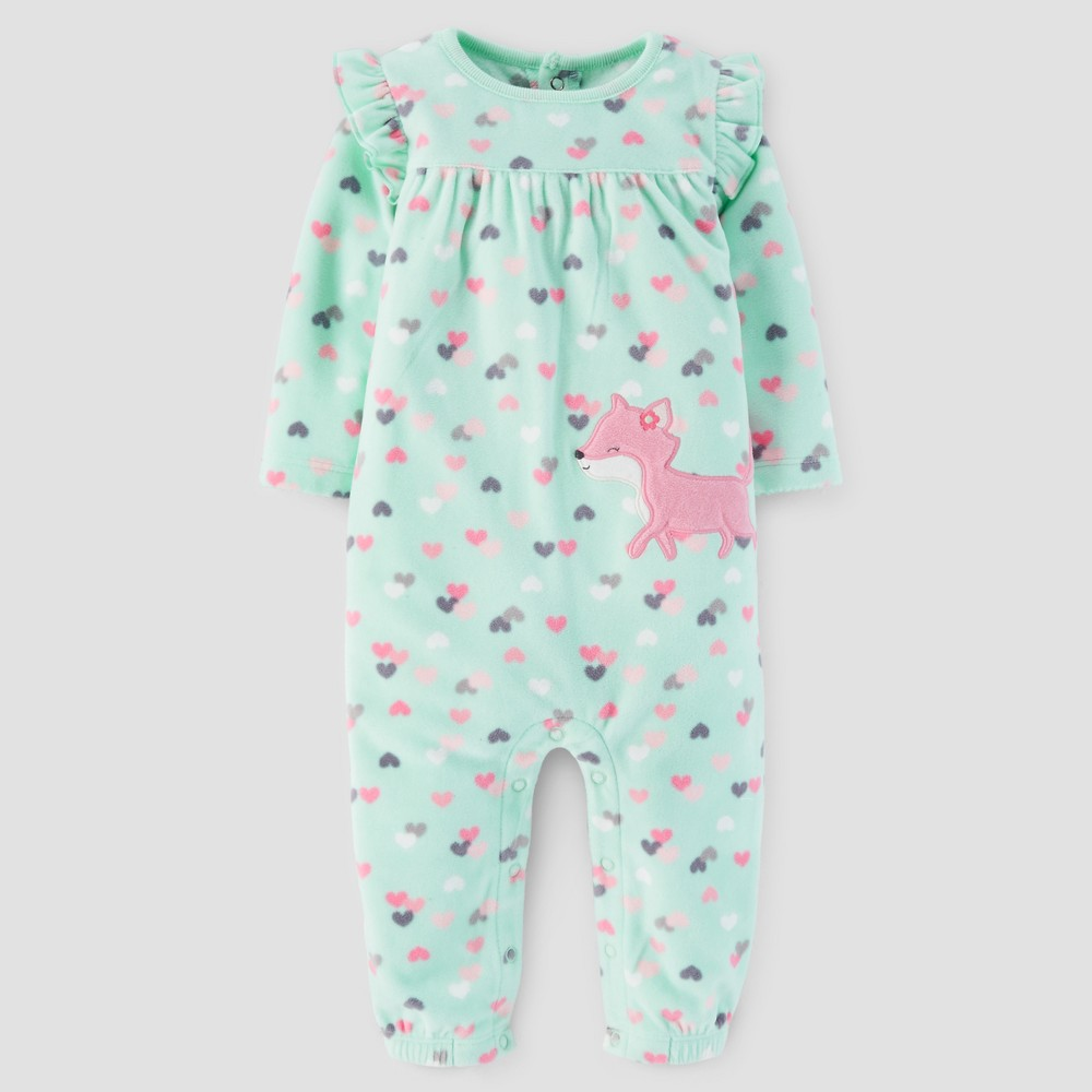 Baby Girls Fox Hearts Fleece Jumpsuit - Just One You Made by Carters Mint 6M, Green