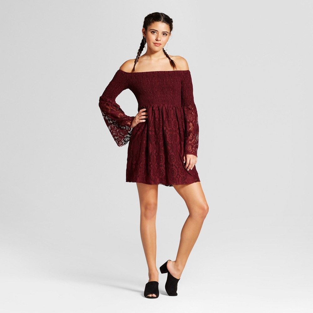 Womens Lace Smocked Off the Shoulder Dress - Xhilaration (Juniors) Plum (Purple) L