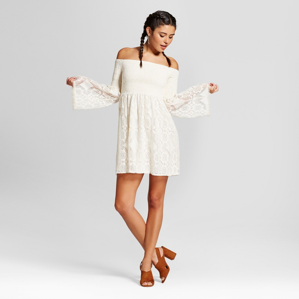 Womens Lace Smocked Off the Shoulder Dress - Xhilaration (Juniors) Natural S