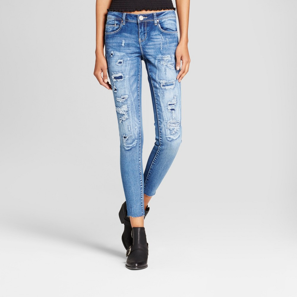 Womens Rip and Repair Raw Hem Skinny Jeans - Almost Famous (Juniors) Med Wash 3, Blue