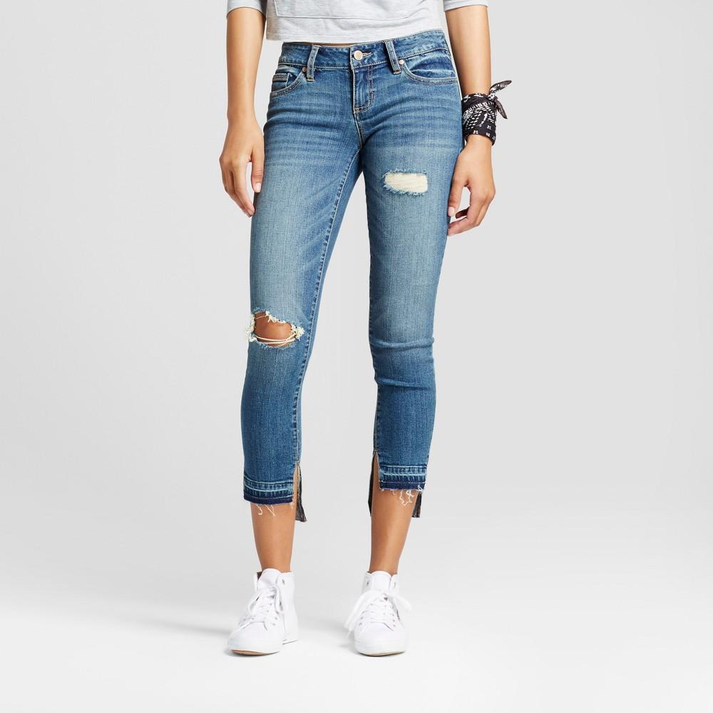 Womens Destructed Step Hem Skinny Jeans - Dollhouse (Juniors) Blue 1, Green