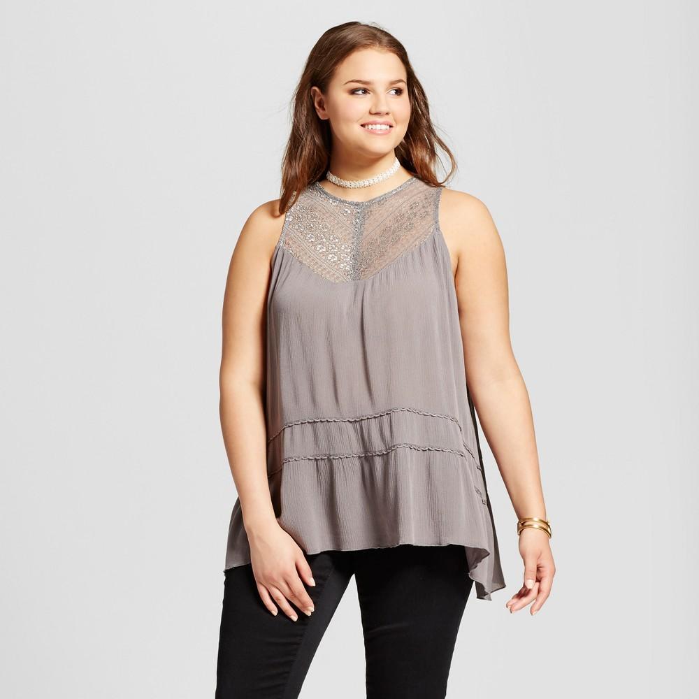 Womens Plus Size Ruffled Tank Top - Grayson Threads - Charcoal Gray 3X, Grey