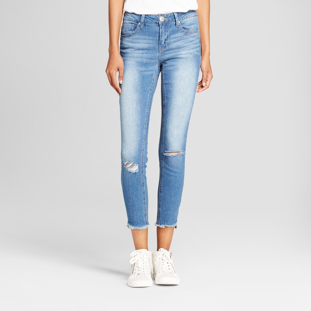 Womens Destructed Hi Low Step Hem Skinny Crop Jeans - Almost Famous (Juniors) Dark wash 13, Blue