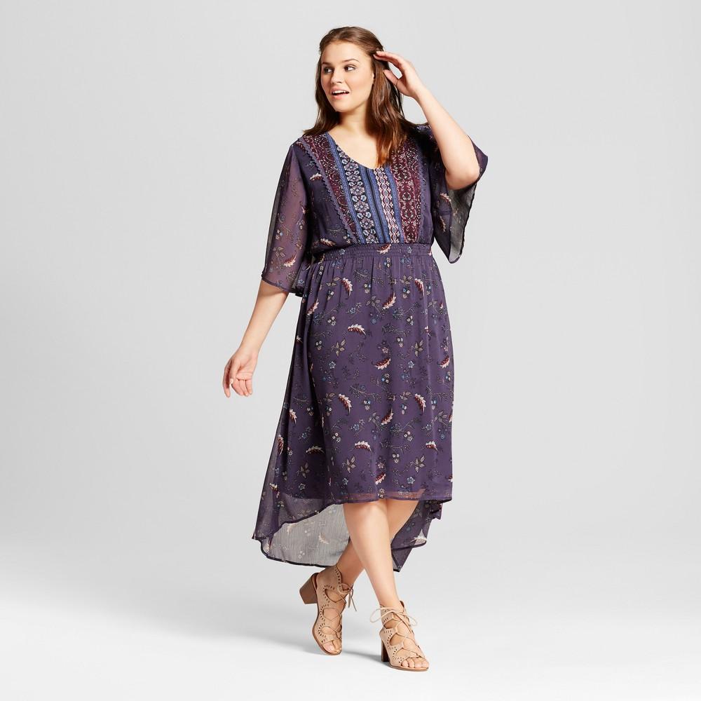 Womens Plus Size Easy Waist Woven Print Dress - Xhilaration Blue 2X