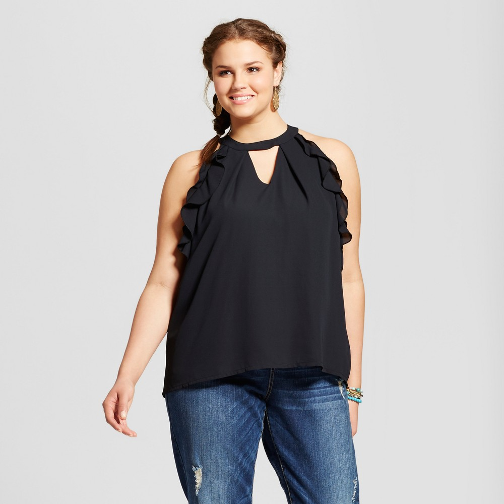 Womens Plus Size Ruffled Choker Tank Top - Grayson Threads - Black 3X