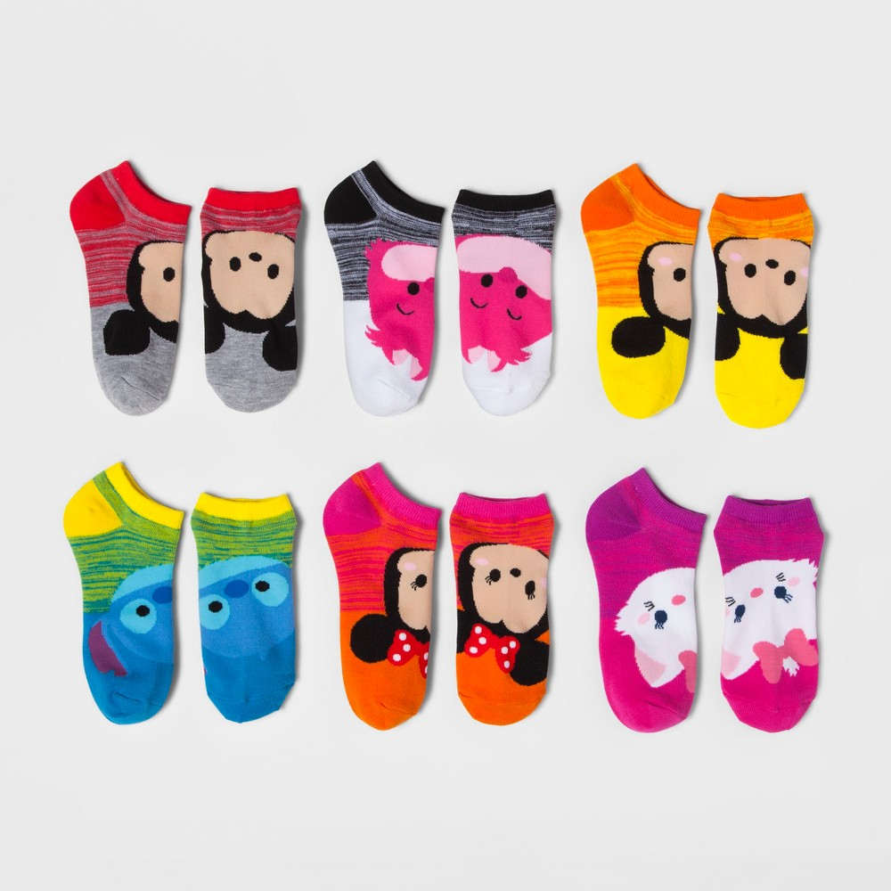 Womens No-Show 6pk Low-Cut Socks Tsum Tsum - Multicolor 9-11, Multi-Colored