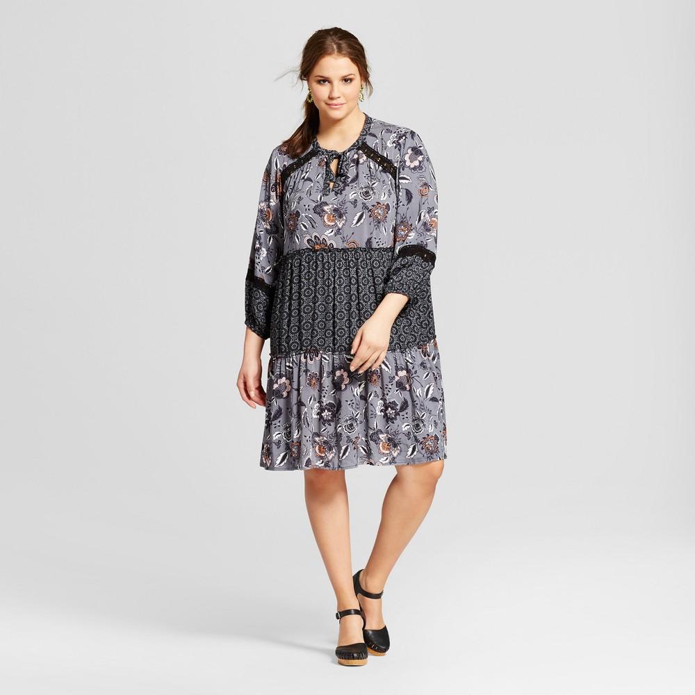 Womens Plus Size Tie Front Dress Floral Print Mix - Xhilaration Black 2X