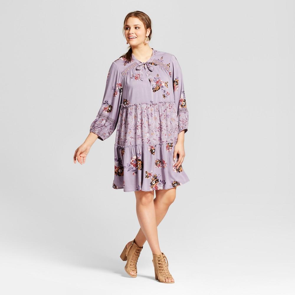 Womens Plus Size Tie Front Dress Floral Print Mix - Xhilaration Plum X, Purple