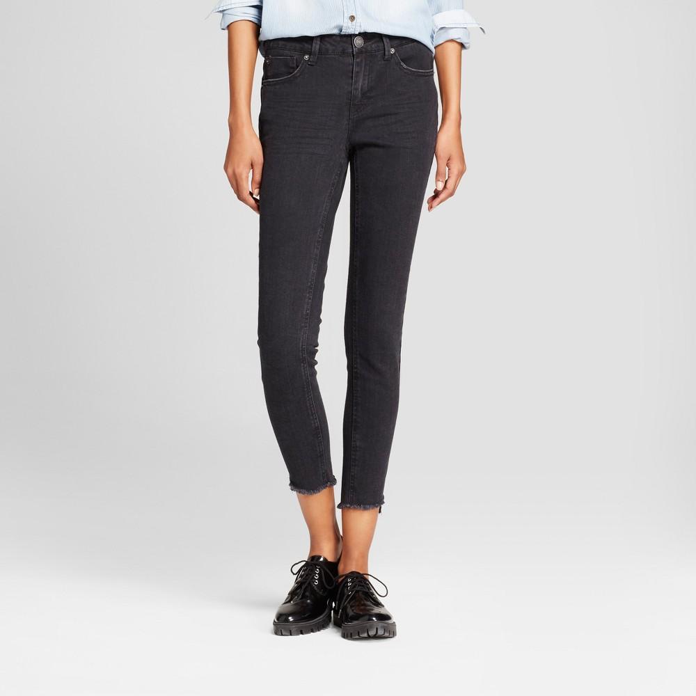 Womens Hi Low Step Hem Skinny Crop Jeans - Almost Famous (Juniors) - Black 1