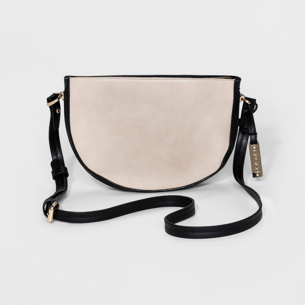 Womens Cesca Small Crossbody with Bottom Zipper Detailing and Adjustable Strap - Black/Taupe, Brown/Black