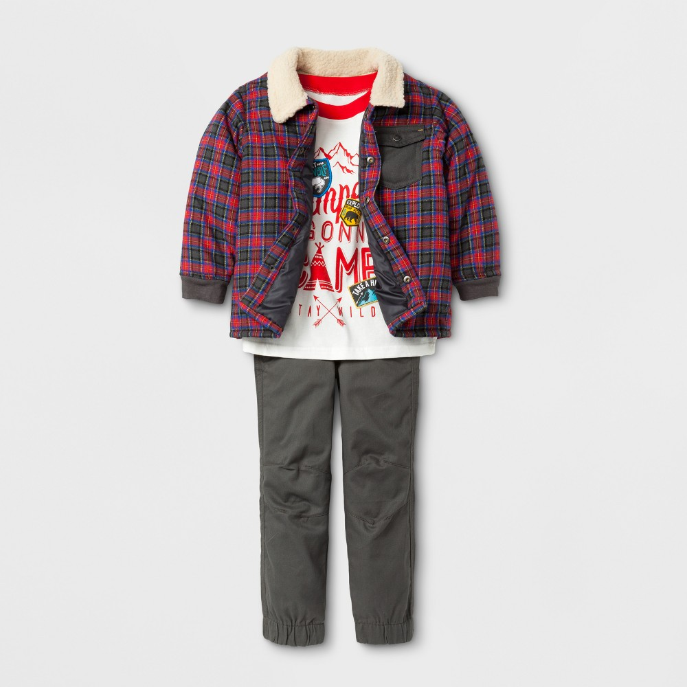 Little Rebels Toddler Boys' 3pc Top and Bottom Set - 4T, Multicolored