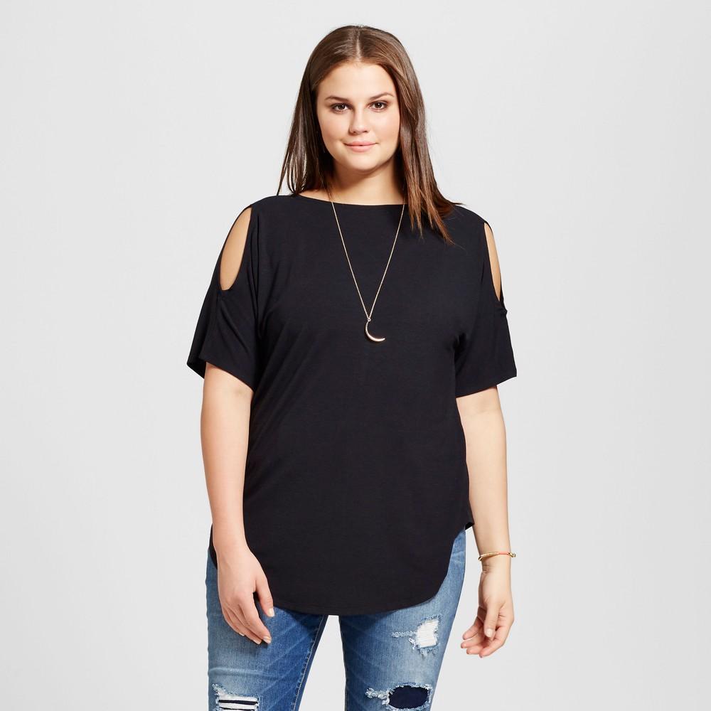 Womens Plus Size Cold Shoulder T-Shirt - Grayson Threads (Juniors) - Black 1X