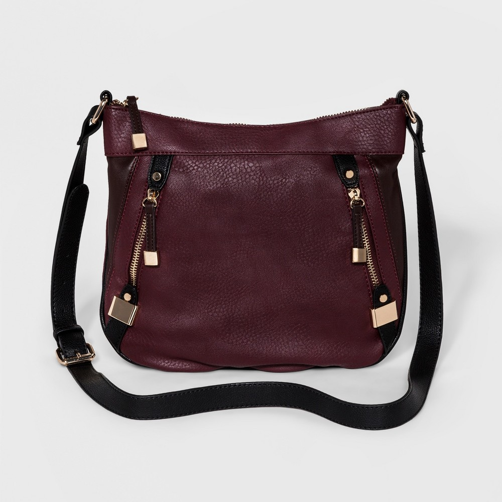 Womens Cesca Medium Colorblocked Crossbody with Two Front Zippers - Burgundy Combo