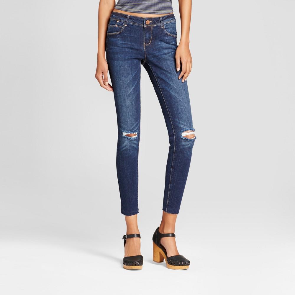 Womens Slit Knee Raw Hem Ankle Skinny Jeans - Almost Famous (Juniors) Dark Wash 11, Blue