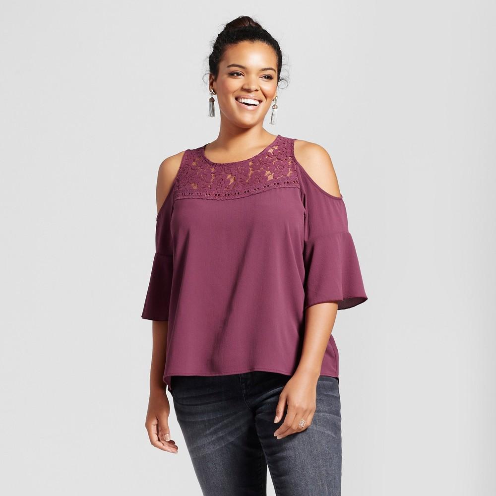 Womens Plus Size Cold Shoulder Blouse - Grayson Threads - Mauve Wine 1X, Cabernet