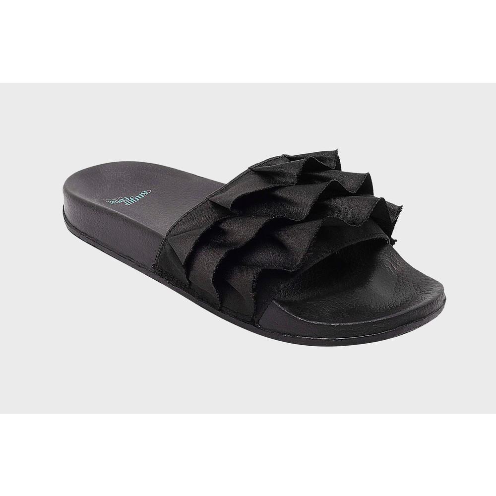 Womens Sugar Coast by Lolli Ruffles Slide Sandals - Black 10