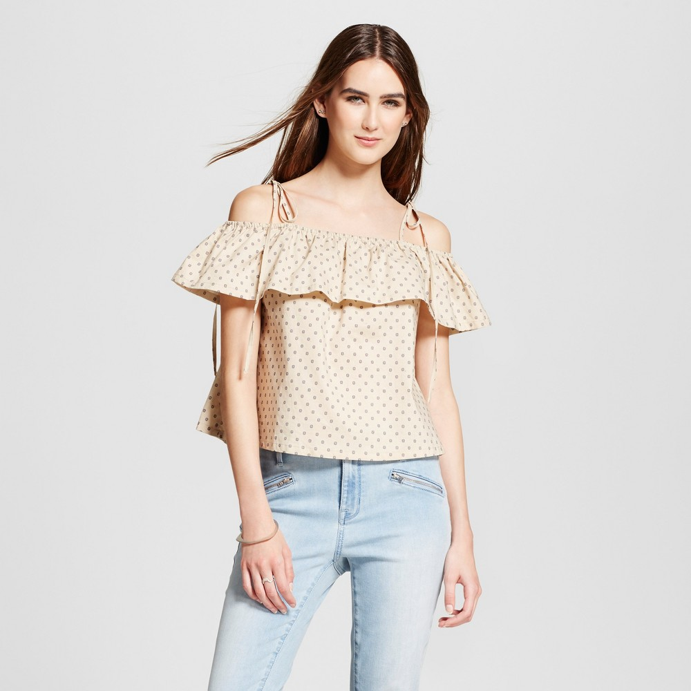 Womens Printed Off the Shoulder Ruffle Top - J by Joa Tan S, Brown