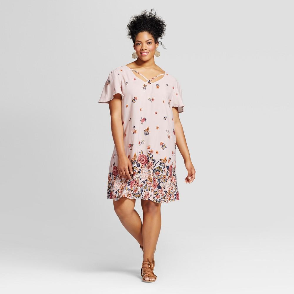 Womens Plus Size Challis Floral Crossfront Dress - Xhilaration Mauve 2X, Purple