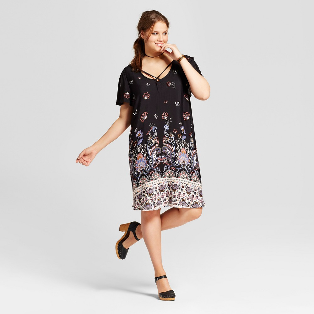Womens Plus Size Challis Print Crossfront Dress - Xhilaration Black 2X