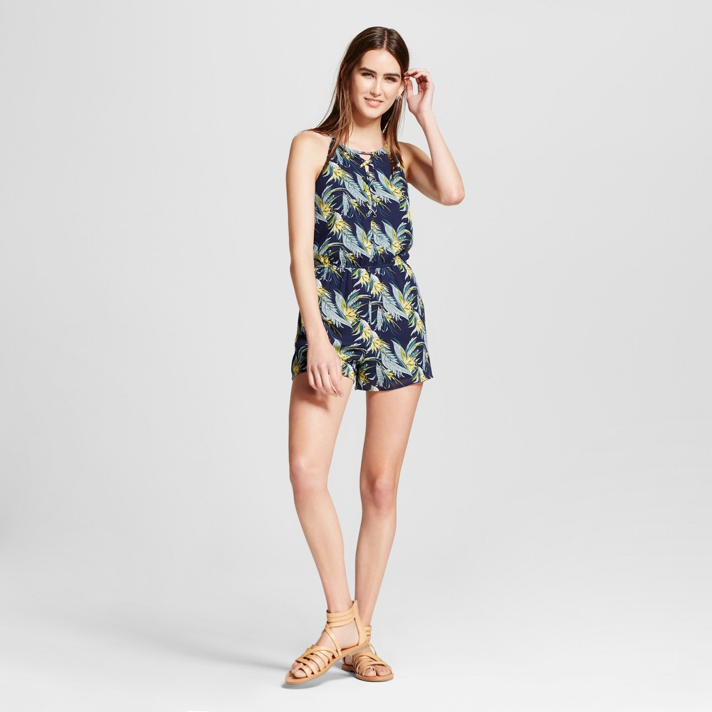 Womens Lace Up Floral Romper - J by Joa Navy Tropical XS, Blue