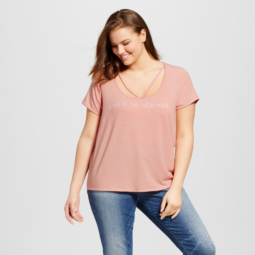 Womens Plus Size Love is the New Hate T-Shirt - Grayson Threads - Rose 2X, Pink