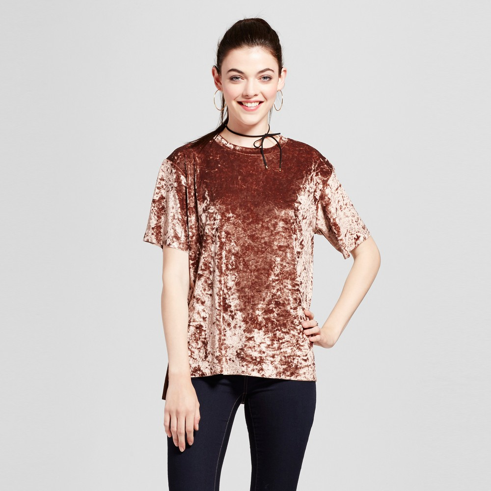 Womens Satin T-Shirt - Xhilaration (Juniors) Cocoa (Brown) XS