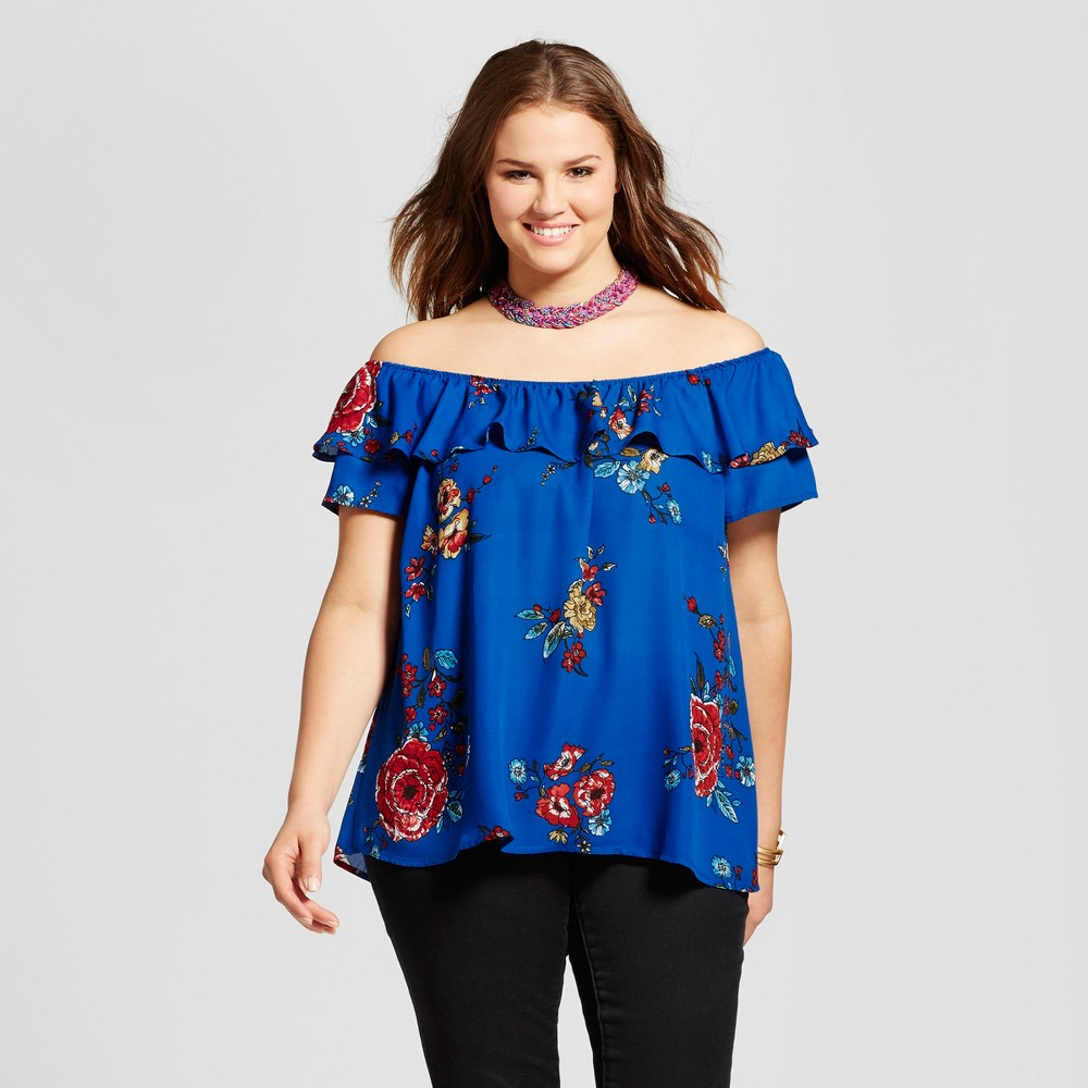 Womens Plus Size Off the Shoulder Floral Ruffle Top - Xhilaration Blue 1X