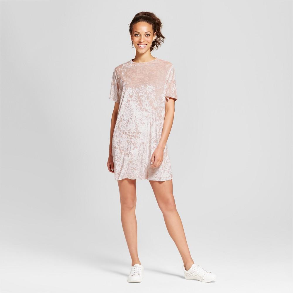 Womens Crushed Velvet T-Shirt Dress - Xhilaration (Juniors) Nude Pink L
