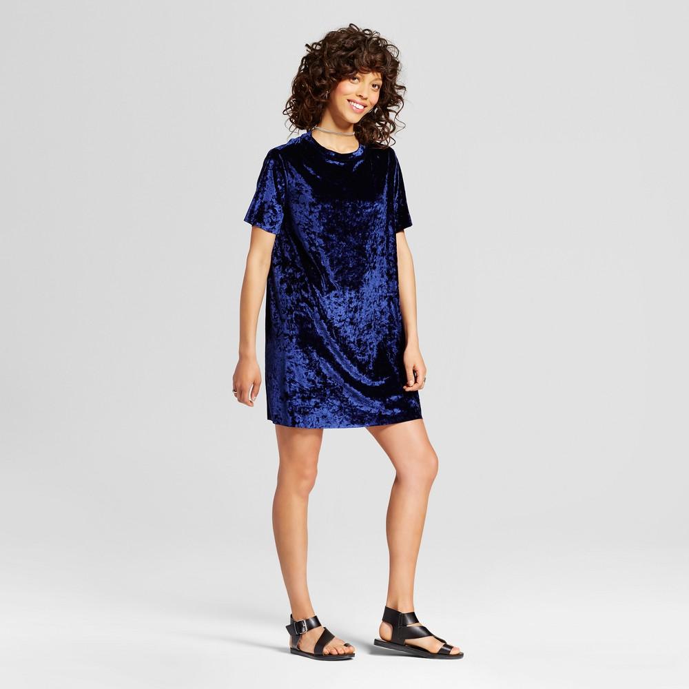 Womens Crushed Velvet T-Shirt Dress - Xhilaration (Juniors) Navy (Blue) Xxl