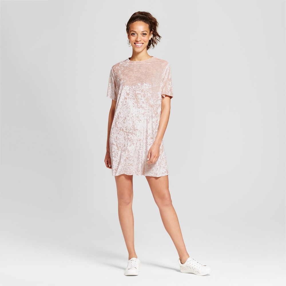 Womens Crushed Velvet T-Shirt Dress - Xhilaration (Juniors) Nude Pink XS