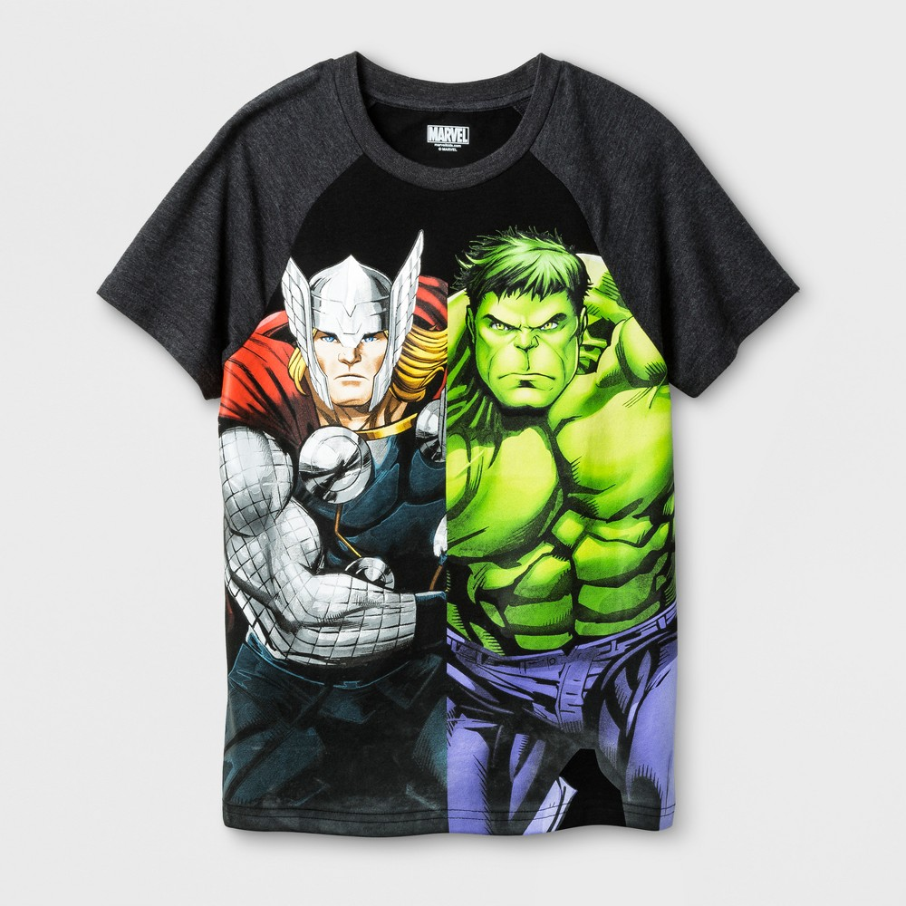 Boys Marvel Thor & Hulk T-Shirt - Black XL