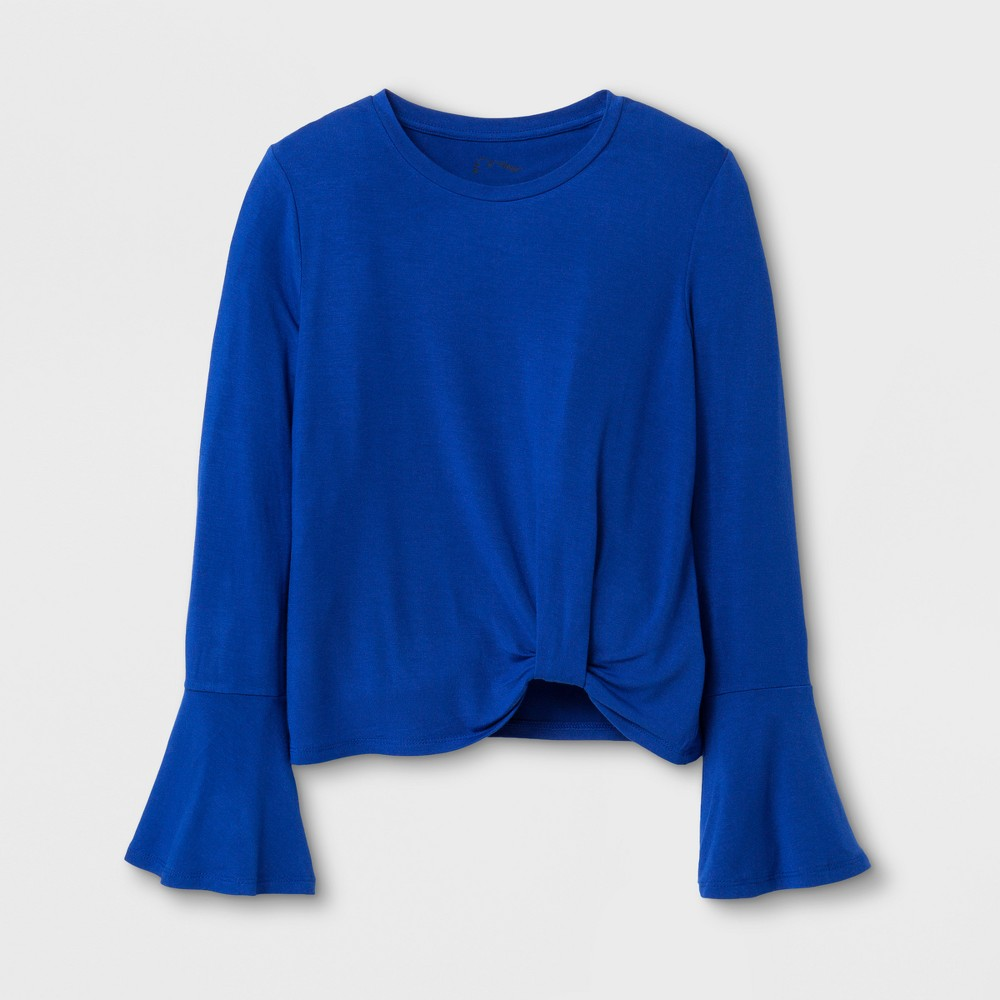 Girls Bell Long Sleeve Knit Top - Art Class Deep Ultramarine L