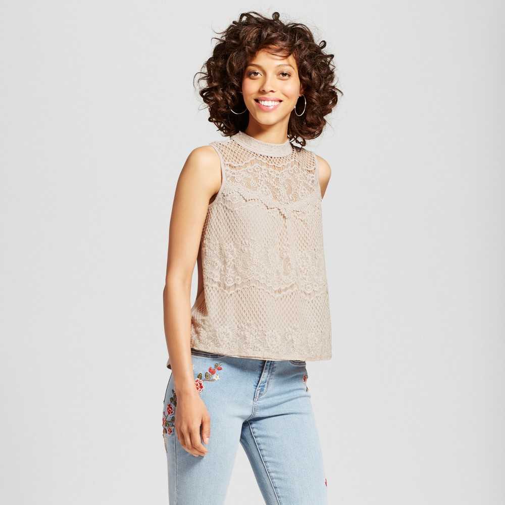 Womens Lace Back Victorian Tank Top - Xhilaration (Juniors) Stone (Grey) XL