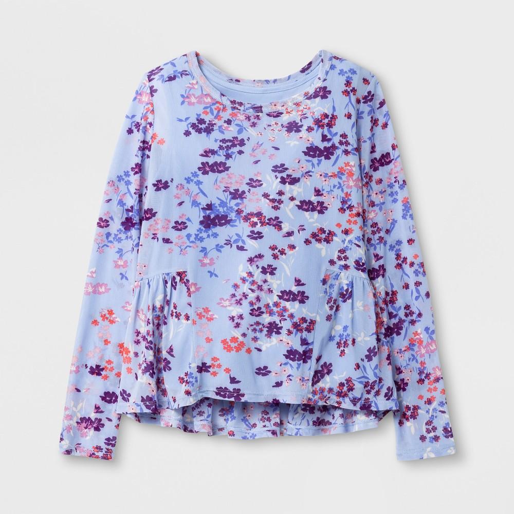 Girls Long Sleeve Mesh Peplum Top - Art Class Bleached Denim XL