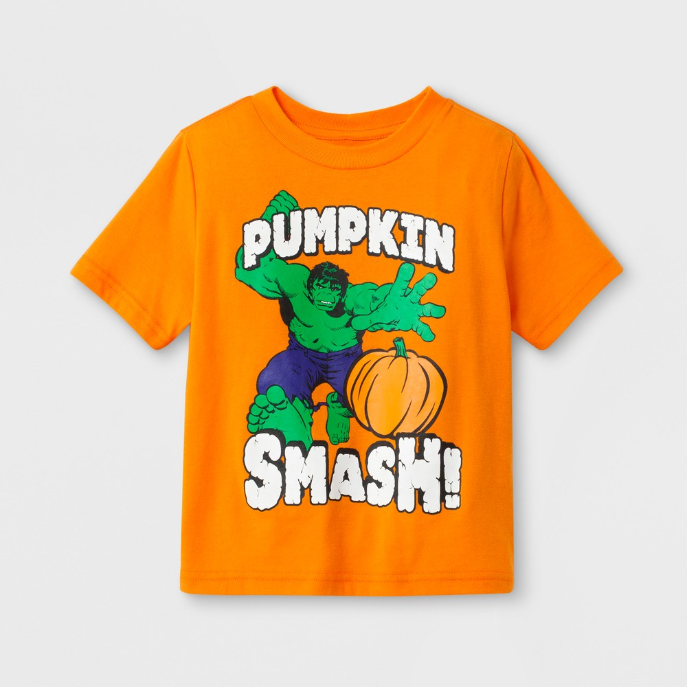 Marvel Toddler Boys' Hulk 'pumpkin Smash!' Short Sleeve Halloween T-Shirt - Orange 2T