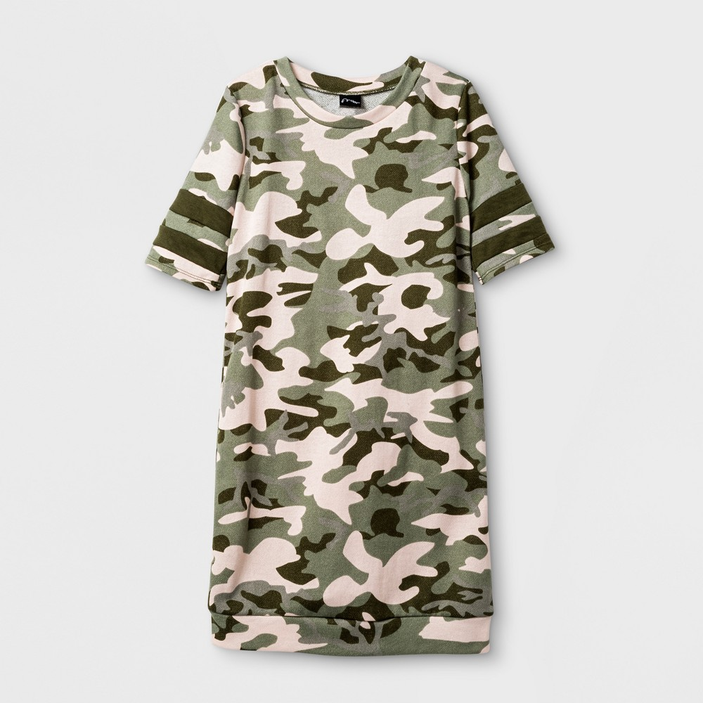 Girls Sweatshirt Dress - Art Class Camo (Green) XL