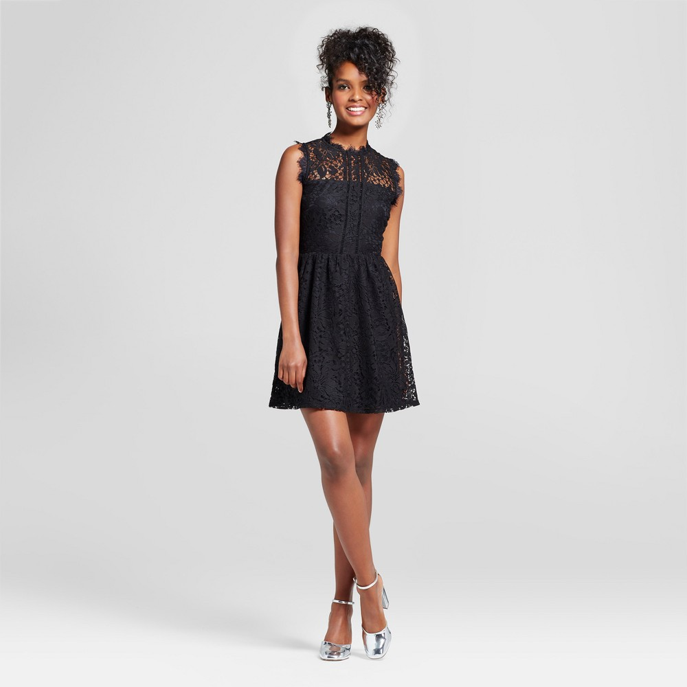Womens High Neck Lace Fit and Flare Dress - Lots of Love by Speechless (Juniors) Black XS