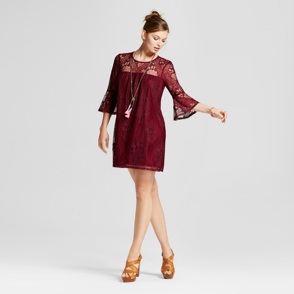 Womens Lace 3/4 Bell Sleeve Shift Dress - Lots of Love by Speechless (Juniors) Burgundy S, Red