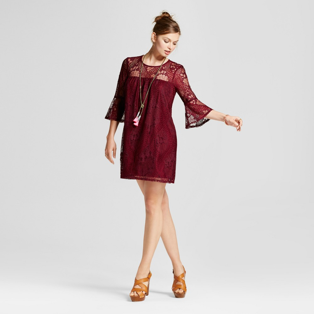 Womens Lace 3/4 Bell Sleeve Shift Dress - Lots of Love by Speechless (Juniors) Burgundy M, Red