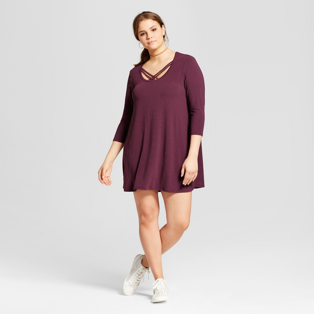Womens Plus Size Short Sleeve T-Shirt Dress - Grayson Threads - Mauve Wine 1X, Dark Purple