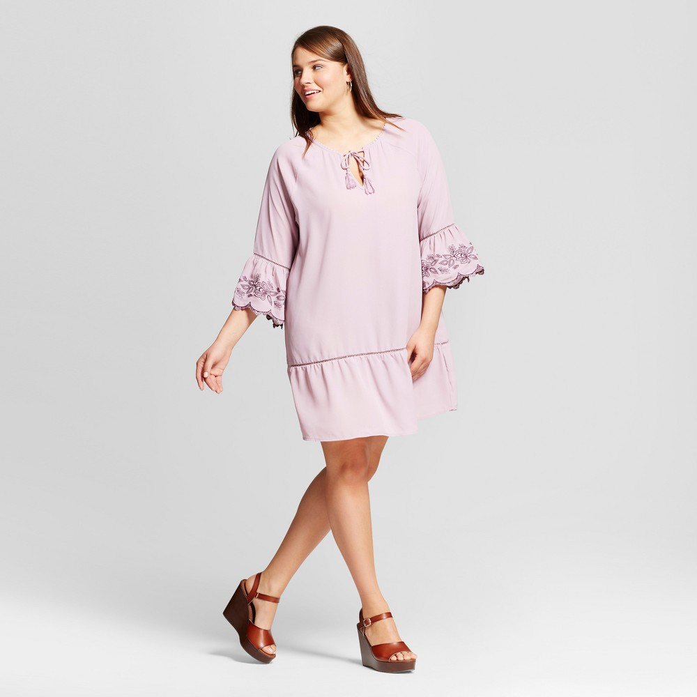 Womens Plus Size Embroidered Dress - Grayson Threads - Lilac 2X, Lilac Bud